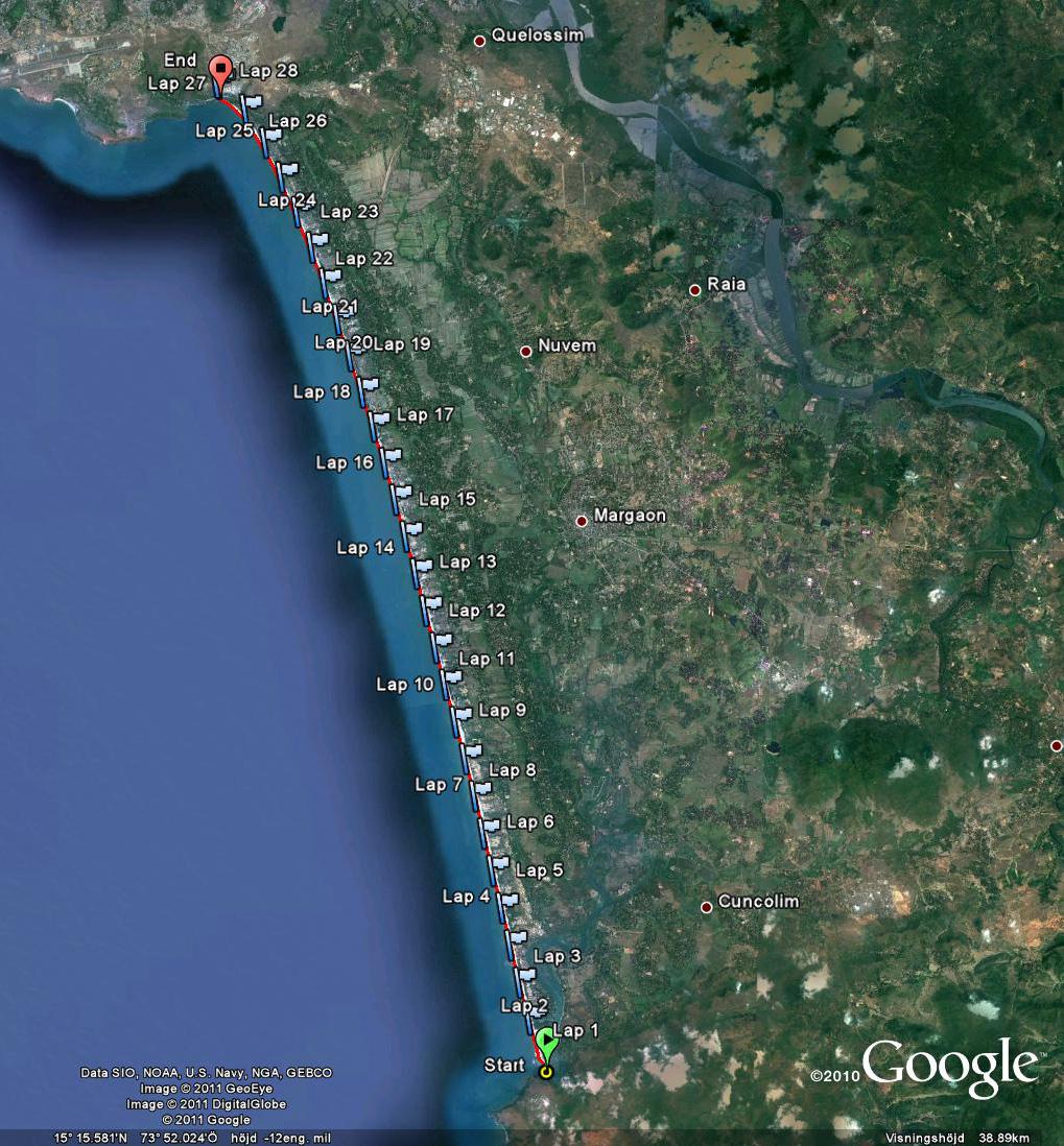 27 kilometer spikrak sandstrand